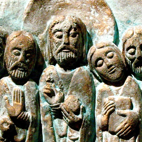 Detail of Jesus With Disciples in Patina